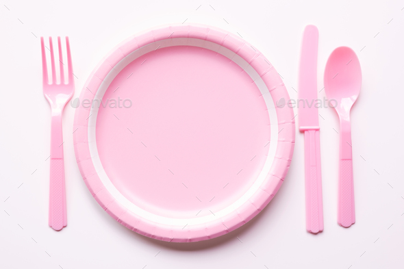 Pink Color Paper Plate With Plastic Spoon Fork And Knife Stock