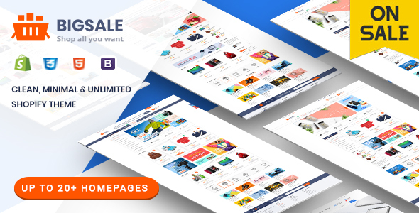 BigSale - The Clean, Minimal & Unlimited Bootstrap 4 Shopify Theme (Up to 20 HomePages)