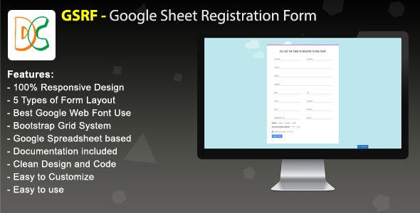 GSRF - Google Sheet Registration Form - CodeCanyon Item for Sale