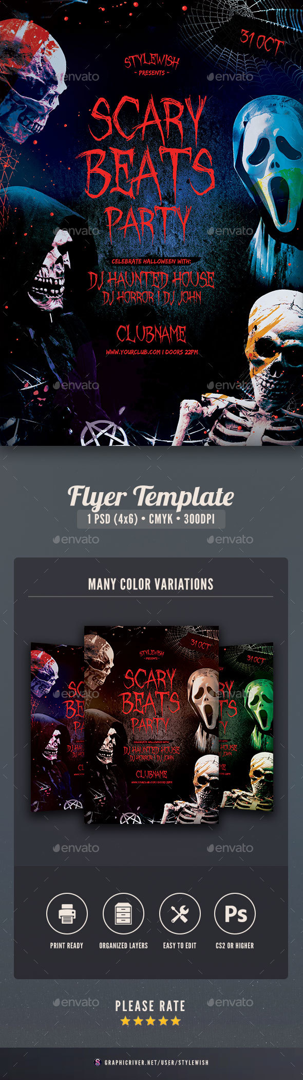 Scary Beats Party Flyer - Clubs & Parties Events
