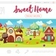 Flat Sweet Village Web Page Template - GraphicRiver Item for Sale