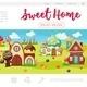 Flat Sweet Village Web Page Template
