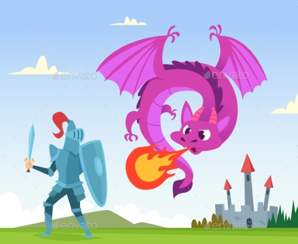 Dragon Fighting. Wild Fairytale Fantasy Creatures - Characters Vectors