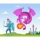 Dragon Fighting. Wild Fairytale Fantasy Creatures