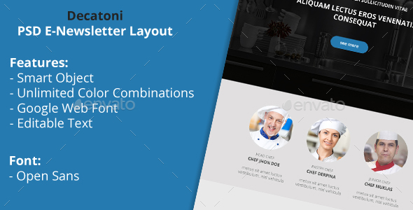 Decatoni Multipurpose PSD Email Newsletter Template - E-newsletters Web Elements
