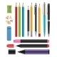 Pen and Pencils. Office Stationery School Colored
