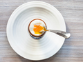 soft-boiled brown egg with spoon in cup on plate - PhotoDune Item for Sale