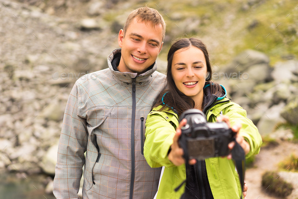 couples take a selfie - Stock Photo - Images