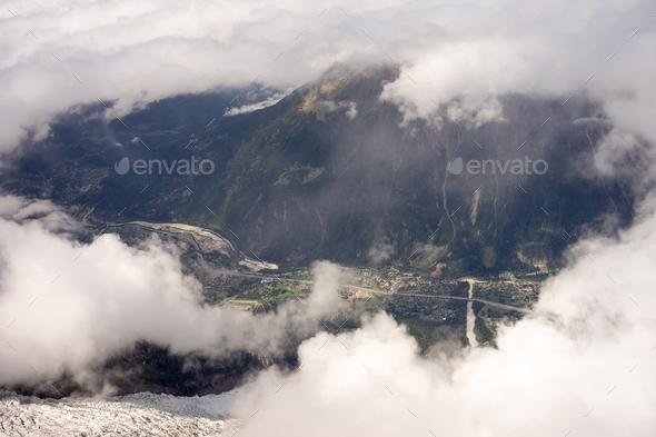Chamonix valley  view - Stock Photo - Images