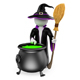 3D White People. Witch Cooking a Magical Potion. Halloween