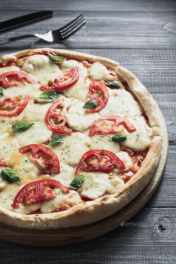 margarita pizza at wood - Stock Photo - Images