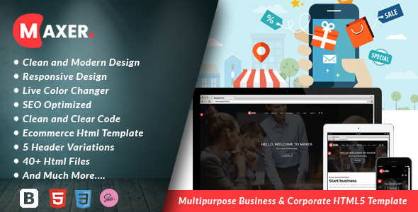 Maxer - Multipurpose Business & Corporate HTML5 Template - Corporate Site Templates