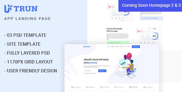 UTRUN - Software, App Landing page PSD Template - Software Technology