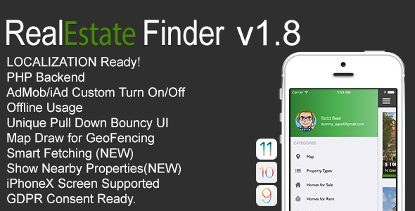 RealEstate Finder Full iOS Application v1.8 - CodeCanyon Item for Sale
