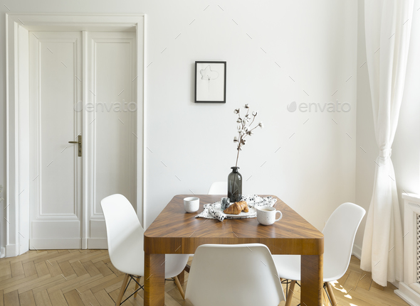 White chairs at wooden table in minimal dining room interior wit - Stock  Photo - Images a0fbf18a2d