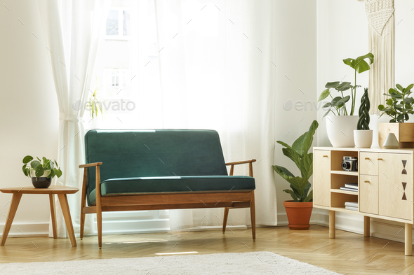 Surprising Real Photo Of A Retro Sofa Next To A Coffee Table And Cabinet Wi Uwap Interior Chair Design Uwaporg