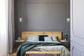 Green blanket on wooden bed with pillows in grey bedroom interio - PhotoDune Item for Sale