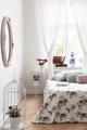 Real photo of bright bedroom interior with window with curtains, - PhotoDune Item for Sale