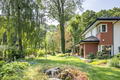 Beautiful garden with trees and shrubs next to a big house. Real - PhotoDune Item for Sale