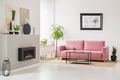 Posters on walls in Scandi sitting room interior with pink velve - PhotoDune Item for Sale