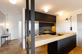 Lights in black kitchen interior with bright modern countertop a - PhotoDune Item for Sale