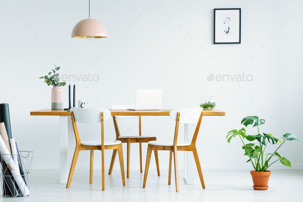 Pink lamp above wooden chairs at table in white interior with po - Stock Photo - Images