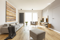 Modern apartment interior with a grey sofa, footstool and armcha - PhotoDune Item for Sale