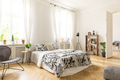 An interior of a bedroom with herringbone parquet, white walls a - PhotoDune Item for Sale