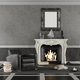 Black and white classic living room with fireplace - PhotoDune Item for Sale