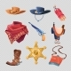 Cowboy or Western Sheriff Accessorises Isolated  - GraphicRiver Item for Sale