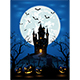Halloween Night with Dark Castle and Pumpkins