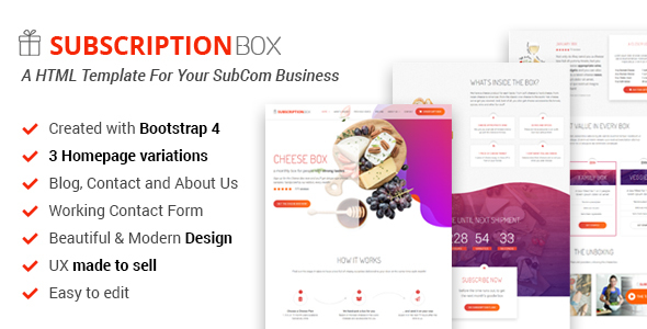 Subscription Box - A Landing Page Template For Your SubCom Business | Responsive Bootstrap 4 by MediumRed