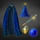 Vector Blue Wizard Costume Set with Accessories