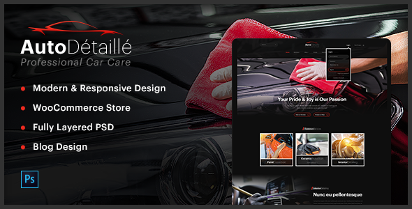 AutoDétaillé - Vehicle Detailing and Cleaning Products Store PSD Template - PSD Templates