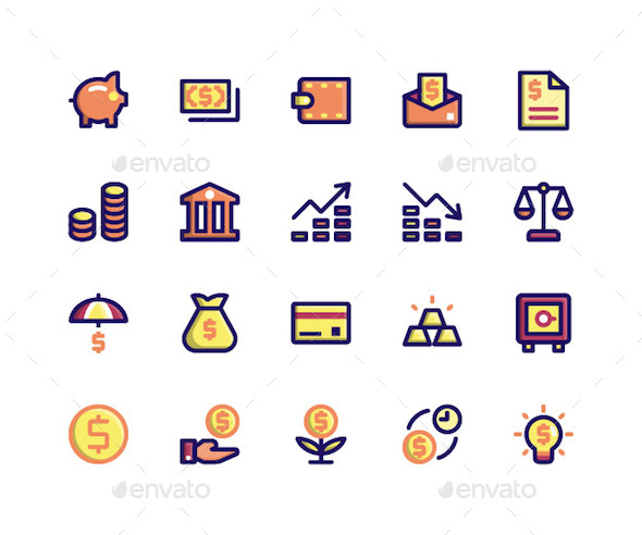Financial Filled Line Icons - Icons