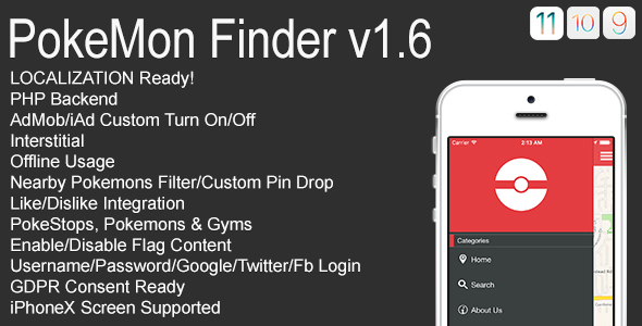 PokeMon Finder Full iOS Application v1.6 - CodeCanyon Item for Sale