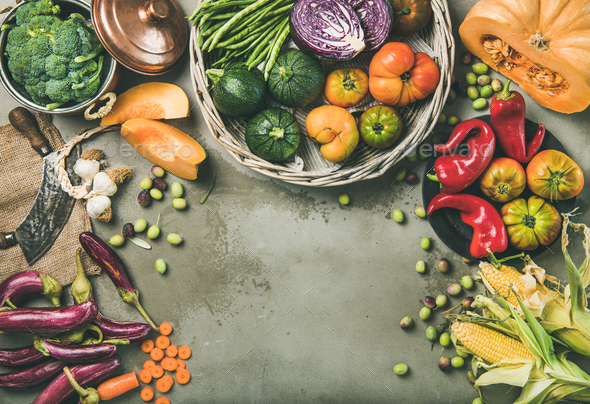 Healthy vegetarian seasonal Fall food cooking background - Stock Photo - Images