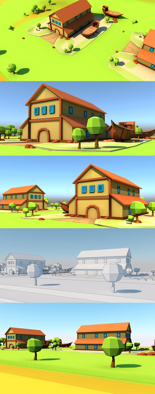 Cartoon Boat House - 3DOcean Item for Sale