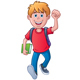 Excited School Boy Walking - GraphicRiver Item for Sale