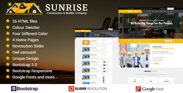 Sunrise Construction & Builder Company Responsive HTML Template - Business Corporate
