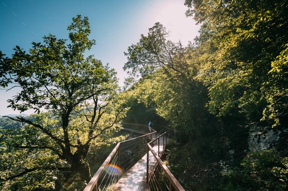 Zeda-gordi, Georgia. Man Walking On Narrow Suspension Bridge Or - Stock Photo - Images