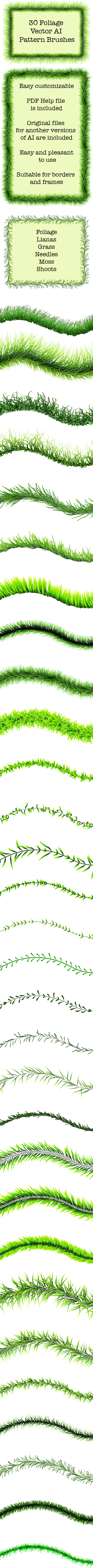 30 Green Foliage Brushes - Vector Adobe Illustrator Pattern Plant Brushes - Miscellaneous Brushes