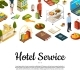 Vector Isometric Hotel Icons Background with Place