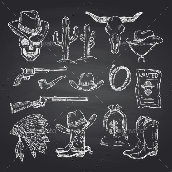 Vector Hand Drawn Wild West Cowboy Set - Miscellaneous Vectors