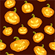 Dark Seamless Background with Smiling Pumpkins for Halloween