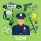 Vector Poster of Policeman Occupation Items - GraphicRiver Item for Sale