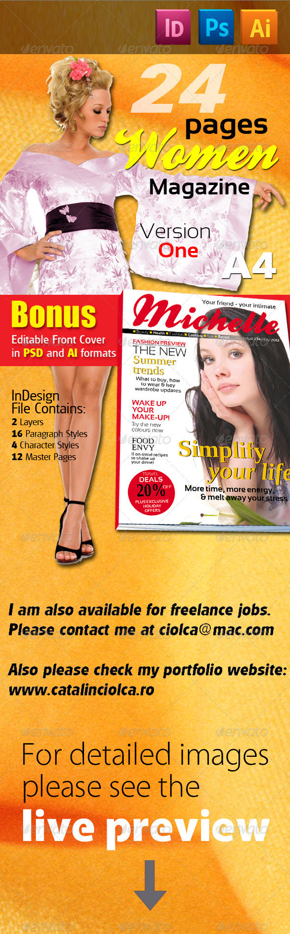 24 Pages Women Magazine Version One - Magazines Print Templates