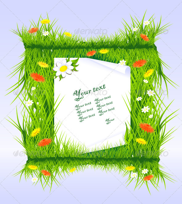 Frame Invitation - Letter in grass with flowers - Flowers & Plants Nature