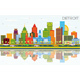 Detroit Michigan City Skyline with Color Buildings