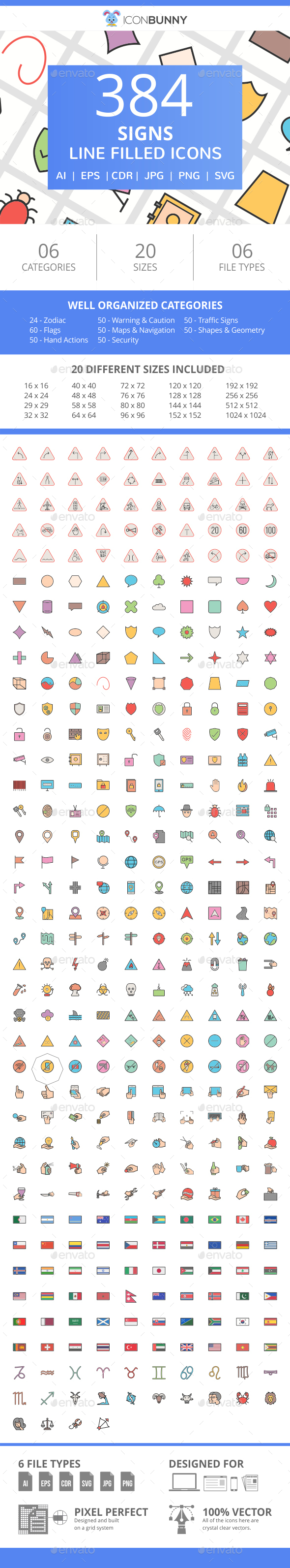 384 Sign FIlled Line Icons - Icons